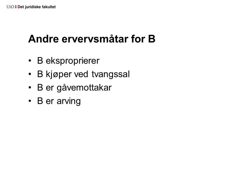 Andre ervervsmåtar for B B eksproprierer B kjøper ved tvangssal B er gåvemottakar B er arving