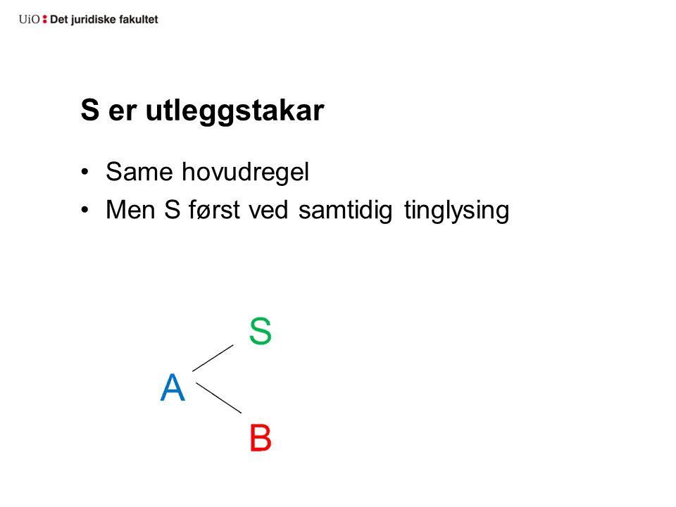 S er utleggstakar Same hovudregel Men S først ved samtidig tinglysing