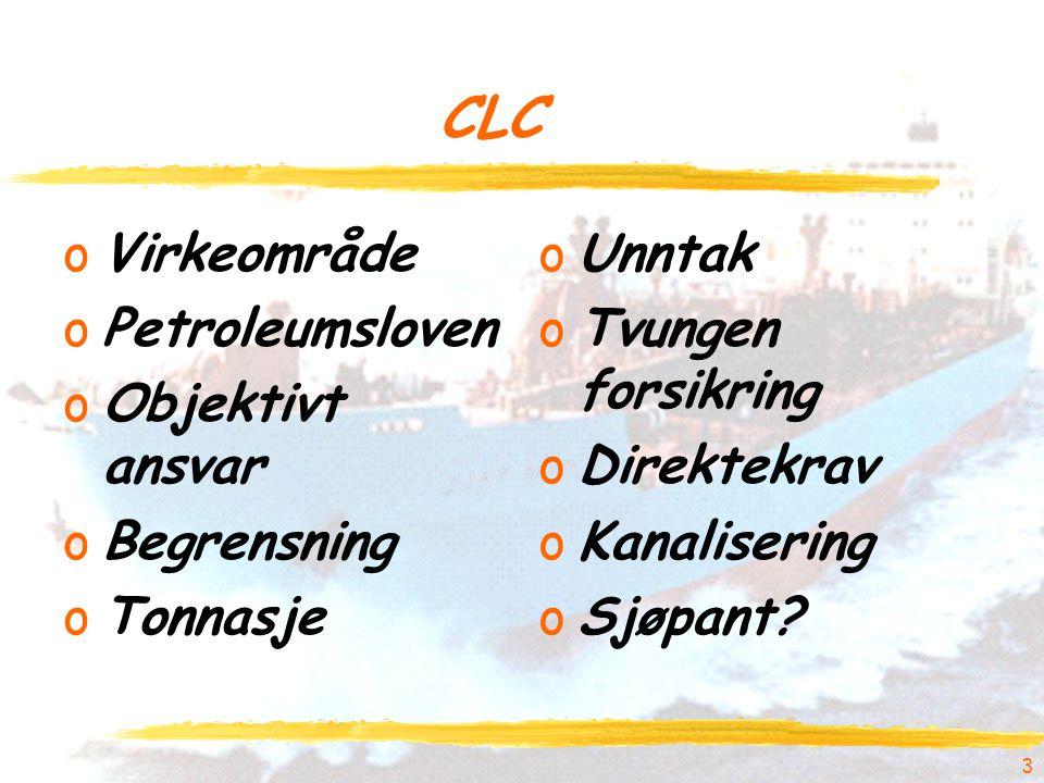 CLC oVirkeområde oPetroleumsloven oObjektivt ansvar oBegrensning oTonnasje oUnntak oTvungen forsikring oDirektekrav oKanalisering oSjøpant? 3