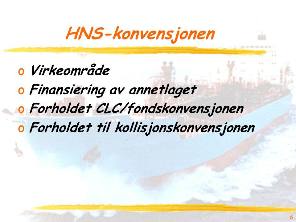 HNS-konvensjonen oVirkeområde oFinansiering av annetlaget oForholdet CLC/fondskonvensjonen oForholdet til kollisjonskonvensjonen 6