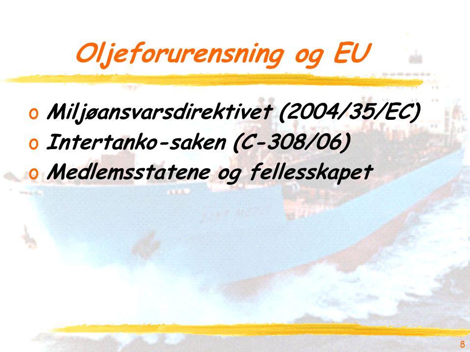 Oljeforurensning og EU oMiljøansvarsdirektivet (2004/35/EC) oIntertanko-saken (C-308/06) oMedlemsstatene og fellesskapet 8