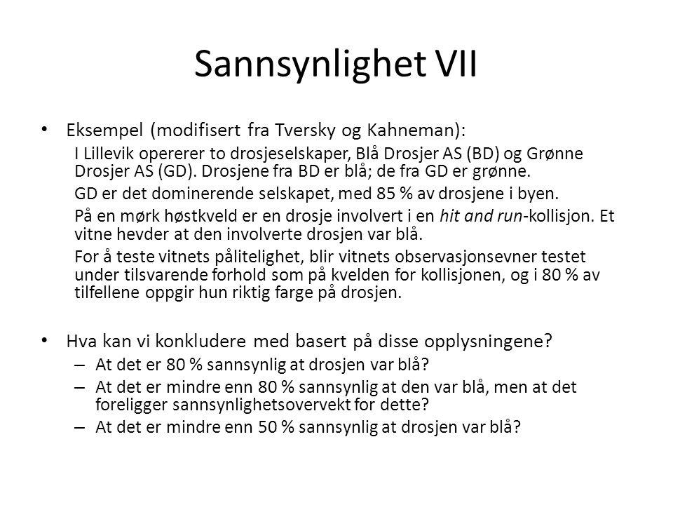 Sannsynlighet VII Eksempel (modifisert fra Tversky og Kahneman): I Lillevik opererer to drosjeselskaper, Blå Drosjer AS (BD) og Grønne Drosjer AS (GD).