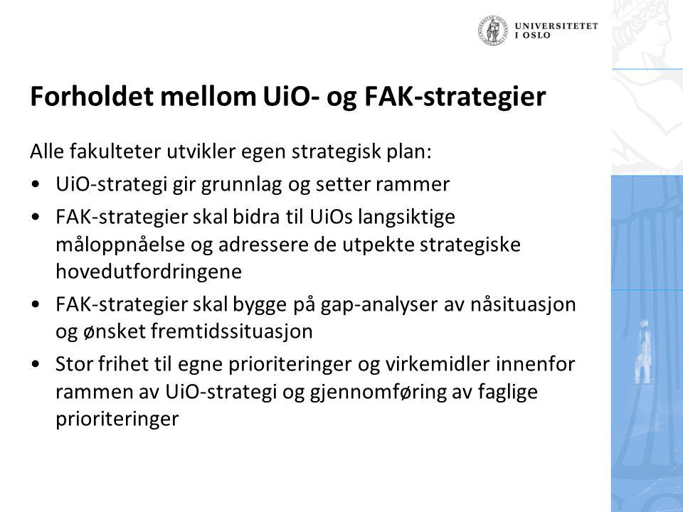 Felt for signatur (enhet, navn og tittel) Alle fakulteter utvikler egen strategisk plan: UiO-strategi gir grunnlag og setter rammer FAK-strategier skal bidra til UiOs langsiktige måloppnåelse og adressere de utpekte strategiske hovedutfordringene FAK-strategier skal bygge på gap-analyser av nåsituasjon og ønsket fremtidssituasjon Stor frihet til egne prioriteringer og virkemidler innenfor rammen av UiO-strategi og gjennomføring av faglige prioriteringer Forholdet mellom UiO- og FAK-strategier