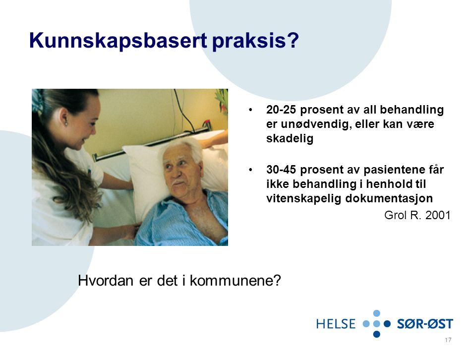 Kunnskapsbasert praksis? 20-25 prosent av all behandling er unødvendig, eller kan være skadelig 30-45 prosent av pasientene får ikke behandling i henh