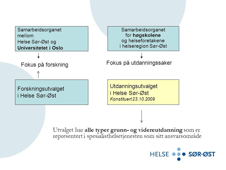 Samarbeidsorganet mellom Helse Sør-Øst og Universitetet i Oslo Samarbeidsorganet for høgskolene og helseforetakene i helseregion Sør-Øst Forskningsutvalget i Helse Sør-Øst Fokus på forskning Fokus på utdanningssaker Utdanningsutvalget i Helse Sør-Øst Konstituert 23.10.2009 Utvalget har alle typer grunn- og videreutdanning som er representert i spesialisthelsetjenesten som sitt ansvarsområde