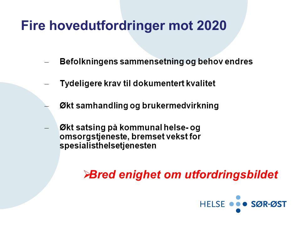 Fire hovedutfordringer mot 2020 – Befolkningens sammensetning og behov endres – Tydeligere krav til dokumentert kvalitet – Økt samhandling og brukermedvirkning – Økt satsing på kommunal helse- og omsorgstjeneste, bremset vekst for spesialisthelsetjenesten  Bred enighet om utfordringsbildet