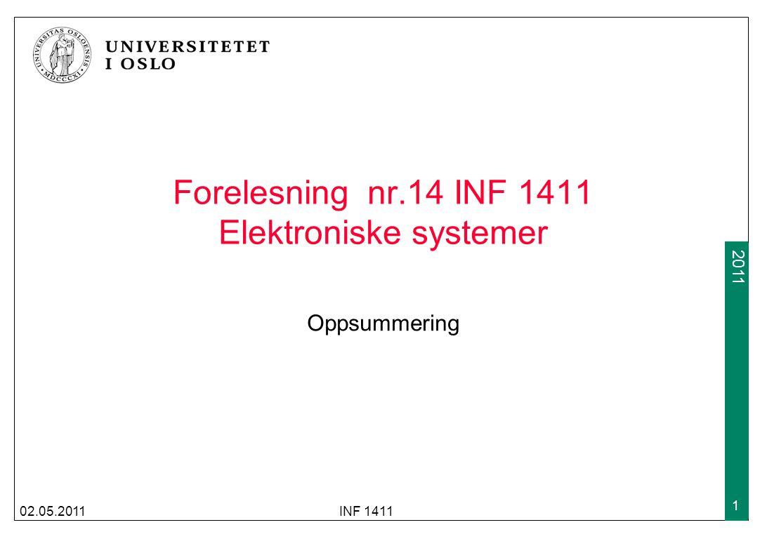 2009 2011 Forelesning nr.14 INF 1411 Elektroniske systemer Oppsummering 02.05.2011INF 1411 1