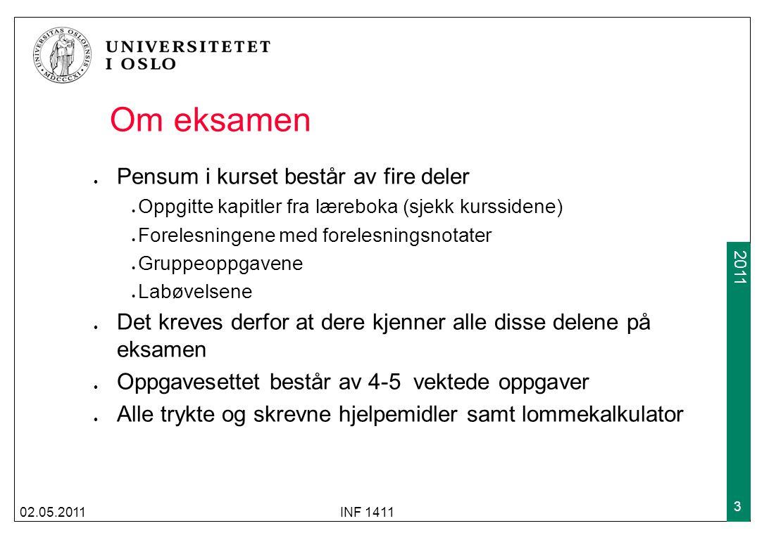 2009 2011 02.05.2011INF 1411 3 Om eksamen Pensum i kurset består av fire deler Oppgitte kapitler fra læreboka (sjekk kurssidene) Forelesningene med fo