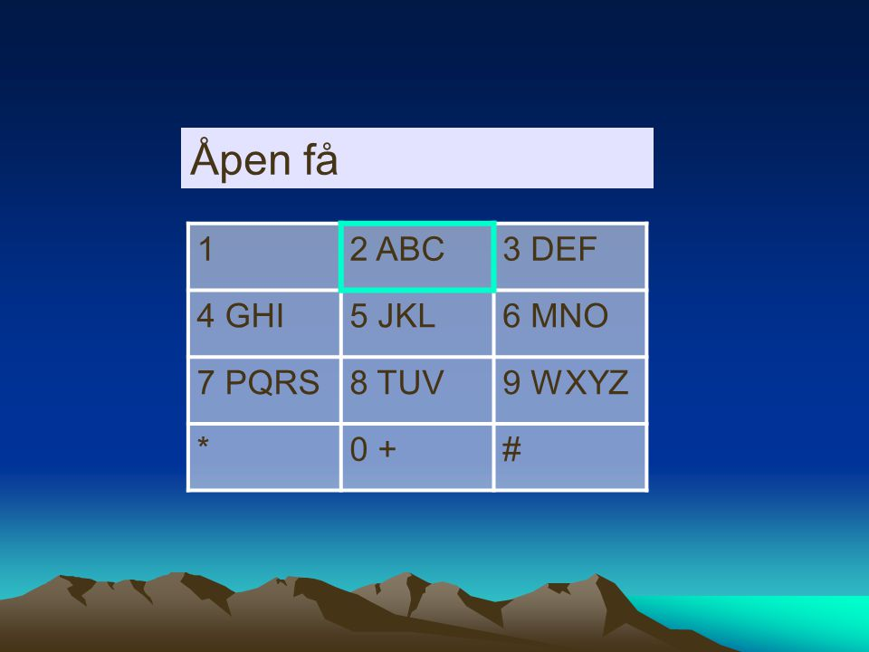 12 ABC3 DEF 4 GHI5 JKL6 MNO 7 PQRS8 TUV9 WXYZ *0 +# Åpen f