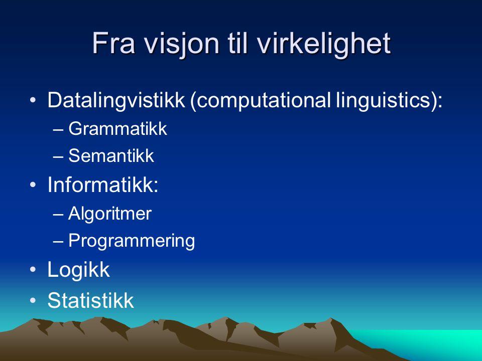 Språkteknologi – hva trengs.Maskinen må ha kunnskaper om språket.