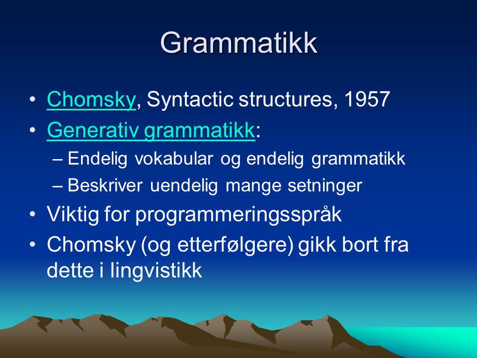 Fra visjon til virkelighet Datalingvistikk (computational linguistics): –Grammatikk –Semantikk Informatikk: –Algoritmer –Programmering Logikk Statistikk