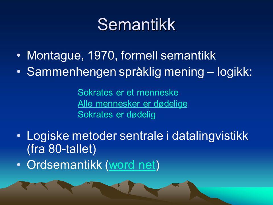 Grammatisk analyse Morfologi og taggingtagging Syntaktisk analyse (erg)erg