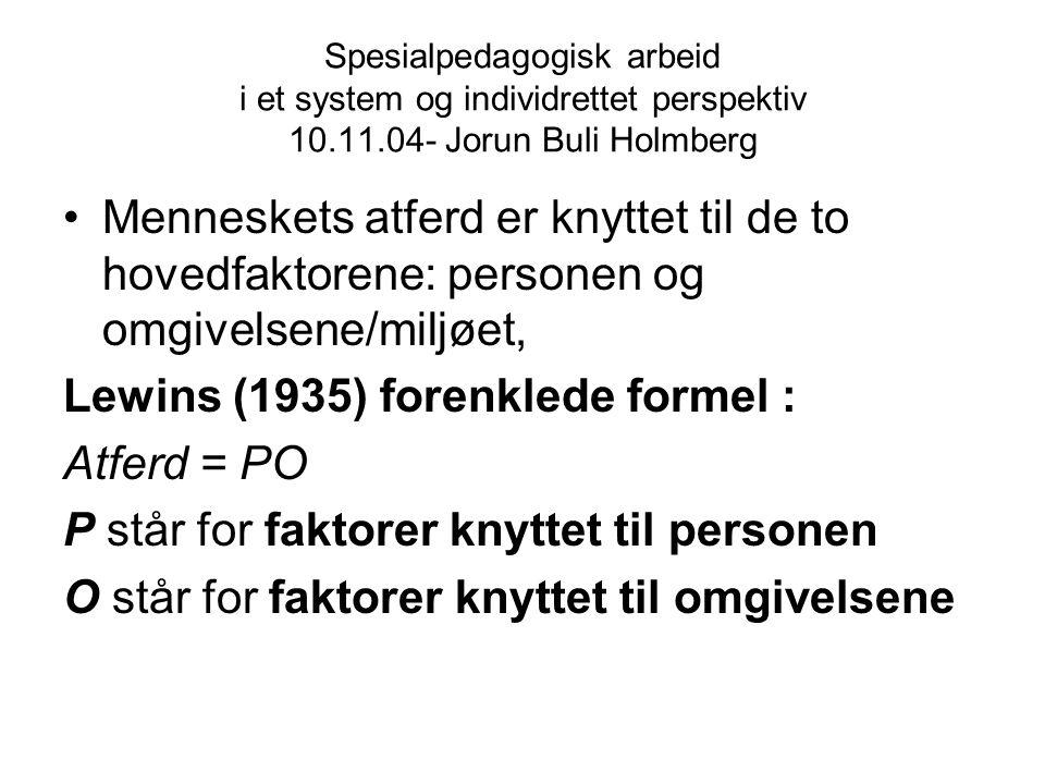 Spesialpedagogisk arbeid i et system og individrettet perspektiv 10.11.04- Jorun Buli Holmberg Menneskets atferd er knyttet til de to hovedfaktorene: