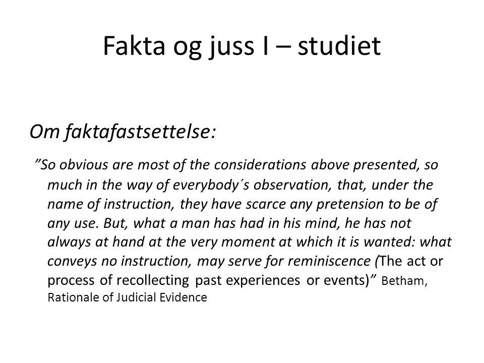 Fakta og juss III Rettsanvendelsen handler om forholdet mellom faktum og rettsregler Bevisbedømmelsen handler om forholdet mellom bevis og faktum Beviskravet er bindingen mellom bevis og faktum