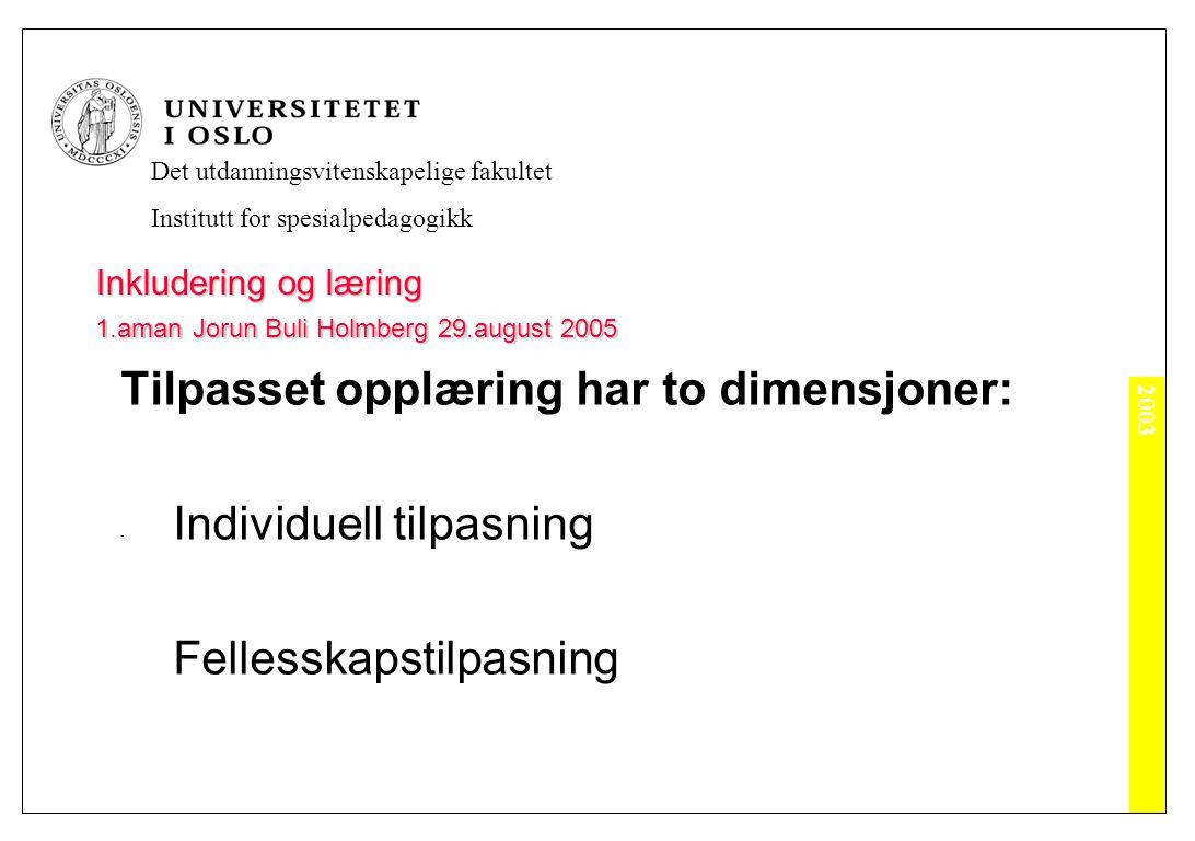 2003 Det utdanningsvitenskapelige fakultet Institutt for spesialpedagogikk Inkludering og læring 1.aman Jorun Buli Holmberg 29.august 2005 Tilpasset opplæring har to dimensjoner: - Individuell tilpasning Fellesskapstilpasning
