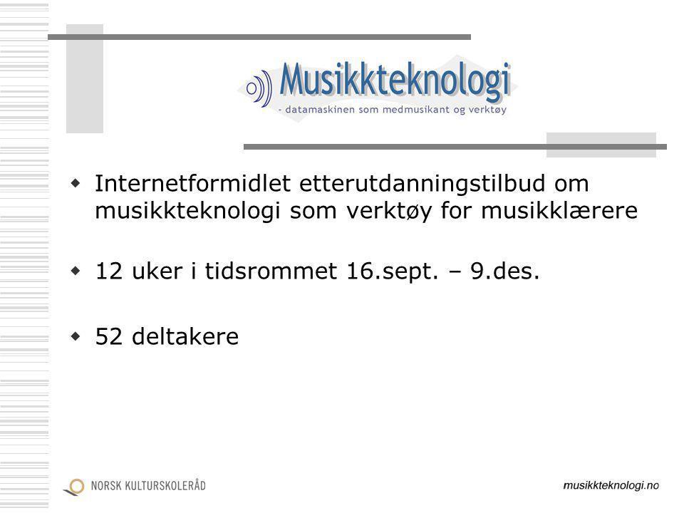  Internetformidlet etterutdanningstilbud om musikkteknologi som verktøy for musikklærere  12 uker i tidsrommet 16.sept. – 9.des.  52 deltakere