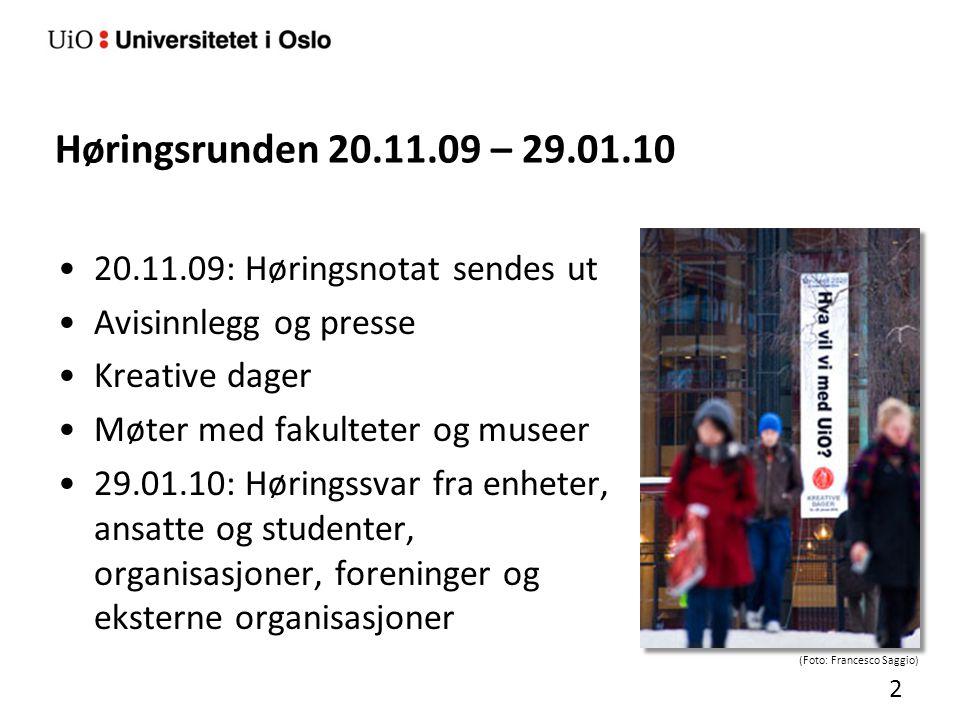 Høringsrunden 20.11.09 – 29.01.10 20.11.09: Høringsnotat sendes ut Avisinnlegg og presse Kreative dager Møter med fakulteter og museer 29.01.10: Hørin