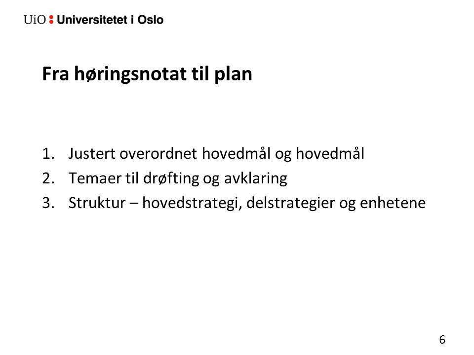 Fra høringsnotat til plan 1.Justert overordnet hovedmål og hovedmål 2.Temaer til drøfting og avklaring 3.Struktur – hovedstrategi, delstrategier og enhetene 6