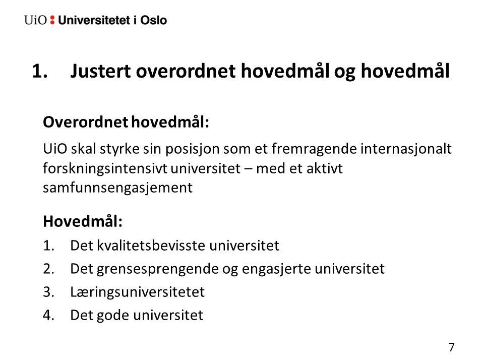 2.Temaer for nærmere drøfting og avklaring Utdanningsambisjonene UiOs forhold til den 3.