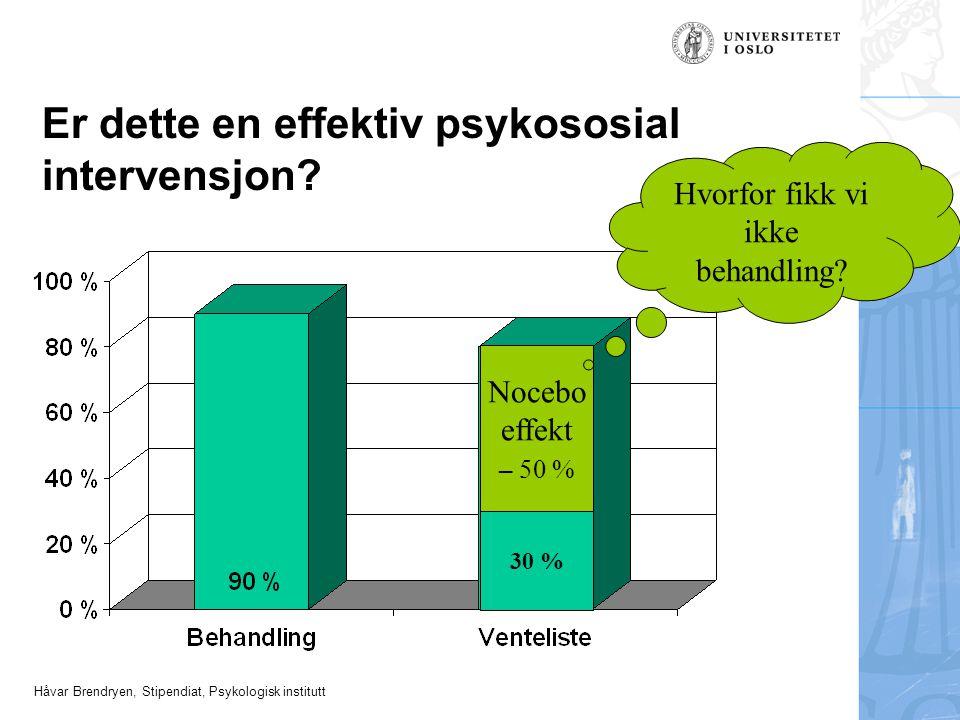 Håvar Brendryen, Stipendiat, Psykologisk institutt Er dette en effektiv psykososial intervensjon? Nocebo effekt – 50 % 30 % Hvorfor fikk vi ikke behan