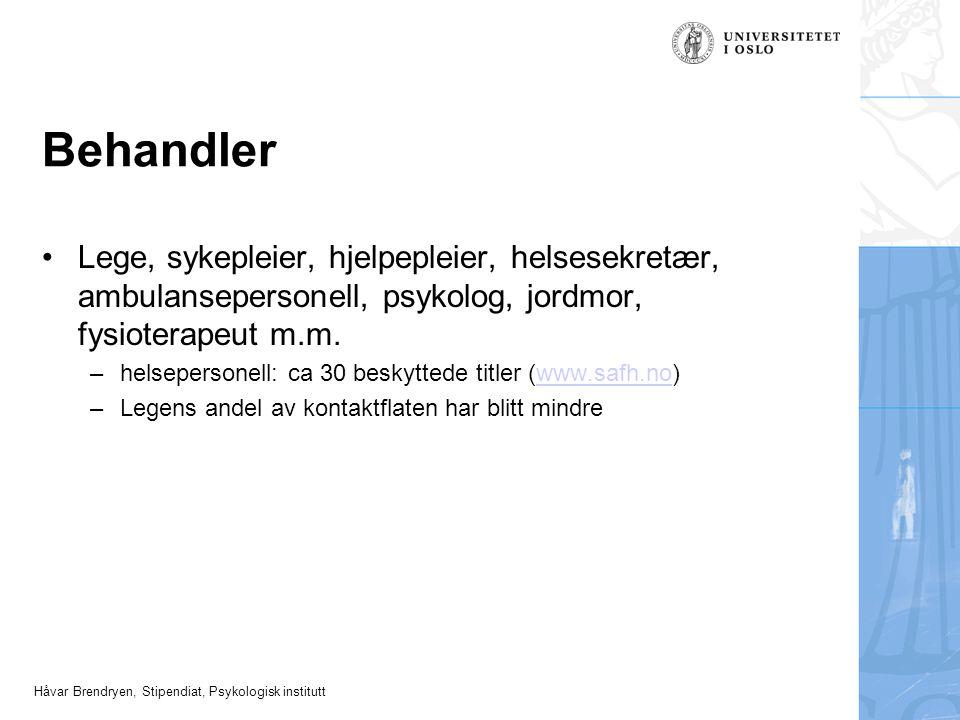 Håvar Brendryen, Stipendiat, Psykologisk institutt Behandler Lege, sykepleier, hjelpepleier, helsesekretær, ambulansepersonell, psykolog, jordmor, fys
