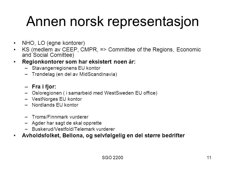 SGO 220011 Annen norsk representasjon NHO, LO (egne kontorer) KS (medlem av CEEP, CMPR, => Committee of the Regions, Economic and Social Comittee) Reg