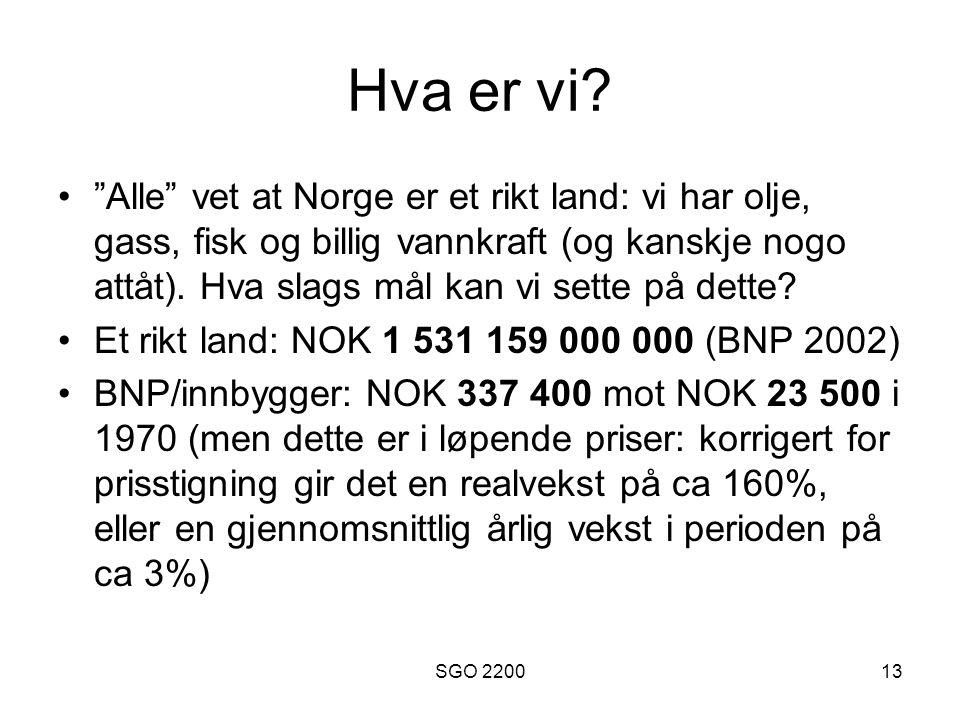 """SGO 220013 Hva er vi? """"Alle"""" vet at Norge er et rikt land: vi har olje, gass, fisk og billig vannkraft (og kanskje nogo attåt). Hva slags mål kan vi s"""