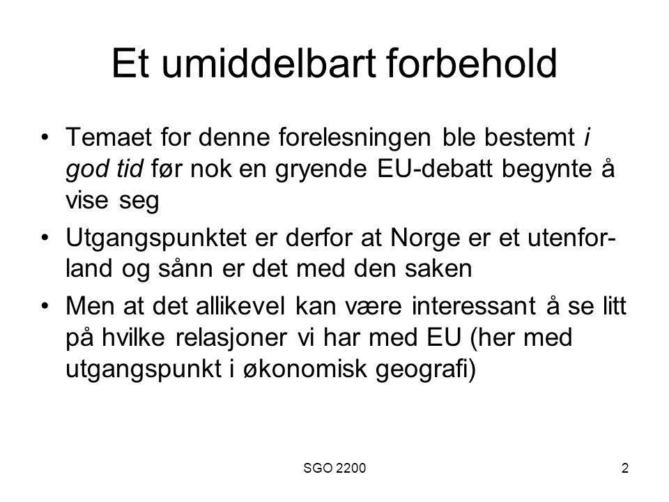 SGO 22003 European Free Trade Agreement Opprettet i 1960 som en motvekt til daværende EF, bestående av Danmark, Norge, Portugal, Storbritannia, Sveits, Sverige og Østerrike Består etter 1995 av Norge, Sveits, Island og Liechtenstein.