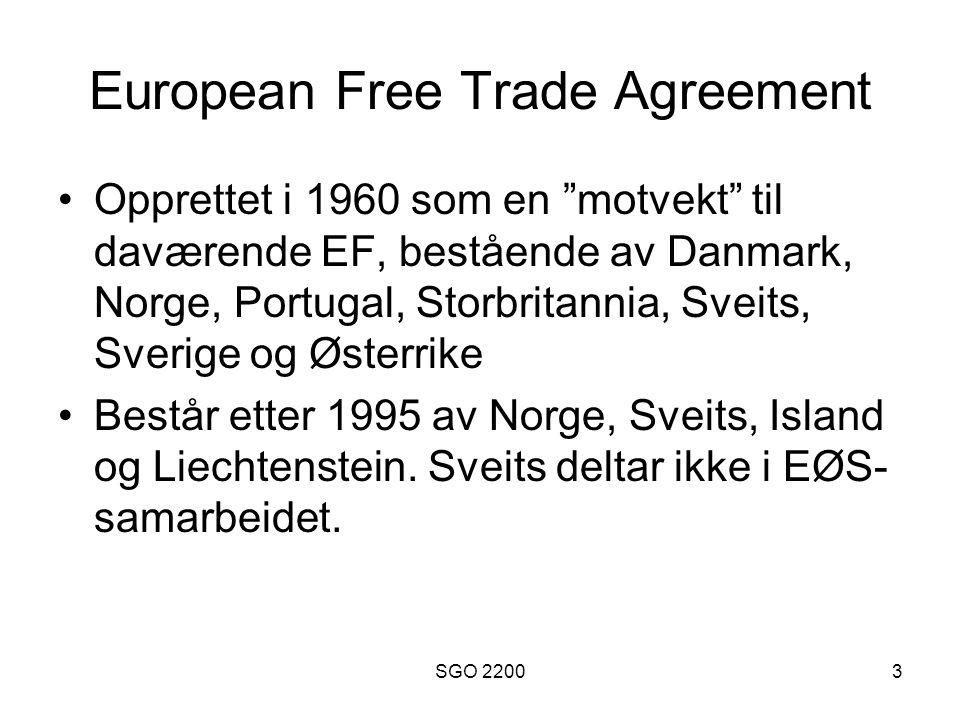 SGO 22004 EØS-avtalen 1 Initiativ fra Gro Harlem Brundtland, implementert i 1994 Hovedformålet er å utvide EU's indre marked til også å omfatte EFTA-statene Inkuderer derfor flyt av varer, tjenester, arbeidskraft og kapital Ble 2003 reforhandlet for å inkludere EU's 10 nye ansøkerland fra 01.05.2004