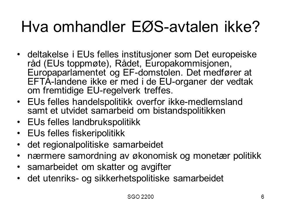 SGO 22007 Noen relevante institusjoner for samarbeid 1 ESA (EFTA Surveillance Authority): påser at EFTA-landene følger EØS-reglene i EFTA- området.