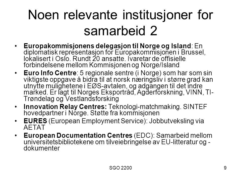 SGO 22009 Noen relevante institusjoner for samarbeid 2 Europakommisjonens delegasjon til Norge og Island: En diplomatisk representasjon for Europakomm