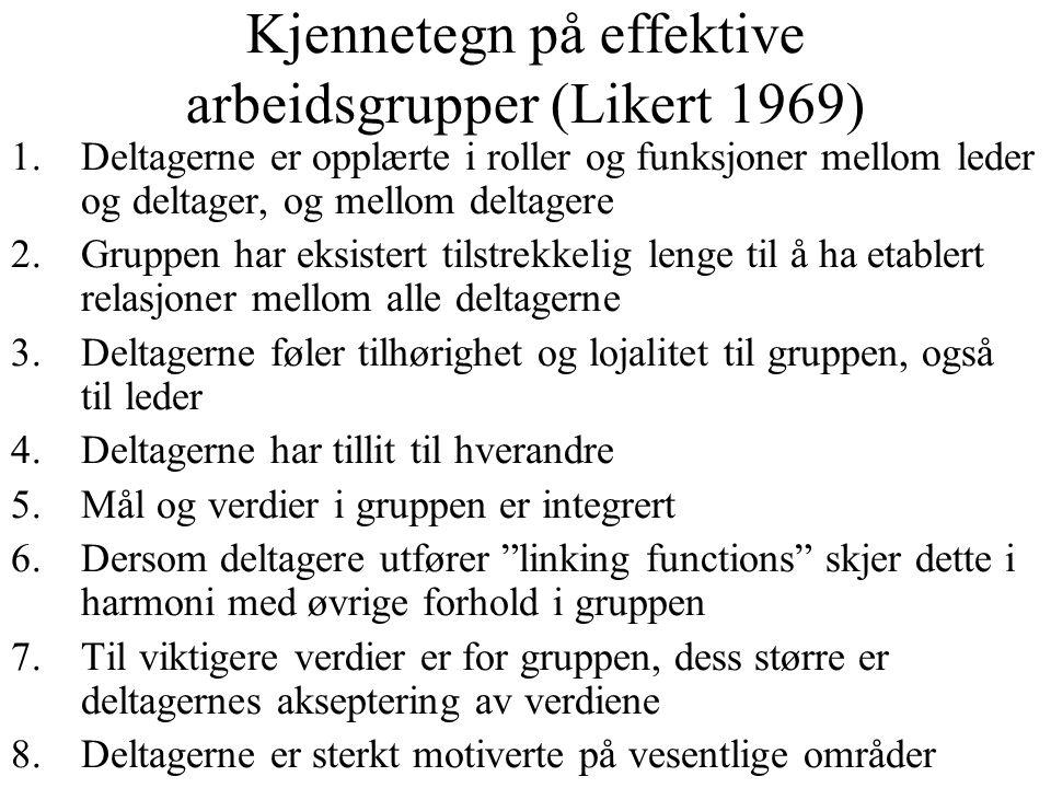Kjennetegn på effektive arbeidsgrupper (Likert 1969) 1.Deltagerne er opplærte i roller og funksjoner mellom leder og deltager, og mellom deltagere 2.G