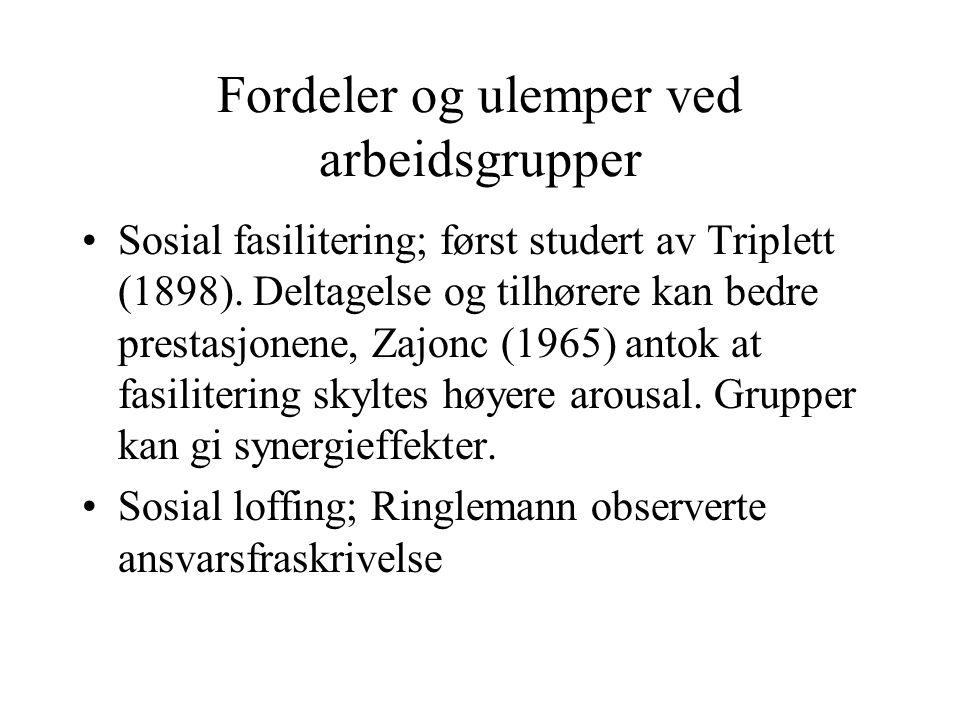 Fordeler og ulemper ved arbeidsgrupper Sosial fasilitering; først studert av Triplett (1898). Deltagelse og tilhørere kan bedre prestasjonene, Zajonc