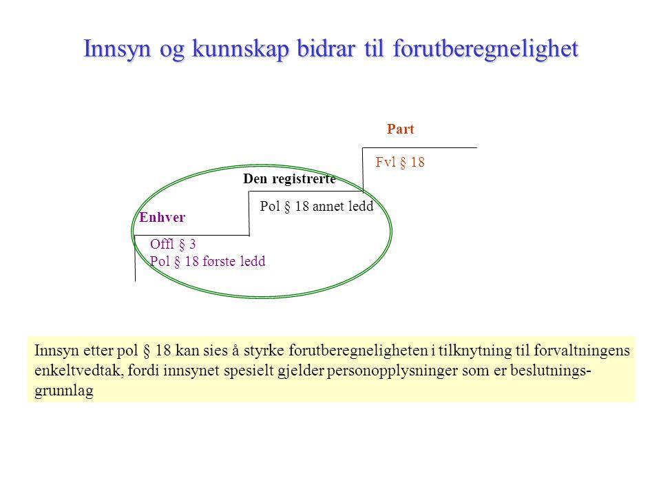 Innsyn og kunnskap bidrar til forutberegnelighet Enhver Offl § 3 Pol § 18 første ledd Den registrerte Pol § 18 annet ledd Part Fvl § 18 Innsyn etter pol § 18 kan sies å styrke forutberegneligheten i tilknytning til forvaltningens enkeltvedtak, fordi innsynet spesielt gjelder personopplysninger som er beslutnings- grunnlag