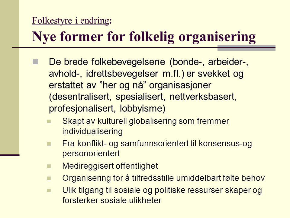 Folkestyre i endring: Nye former for folkelig organisering De brede folkebevegelsene (bonde-, arbeider-, avhold-, idrettsbevegelser m.fl.) er svekket