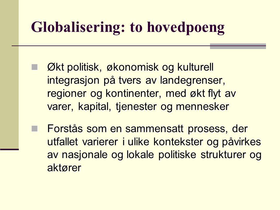 Globalisering: to hovedpoeng Økt politisk, økonomisk og kulturell integrasjon på tvers av landegrenser, regioner og kontinenter, med økt flyt av varer