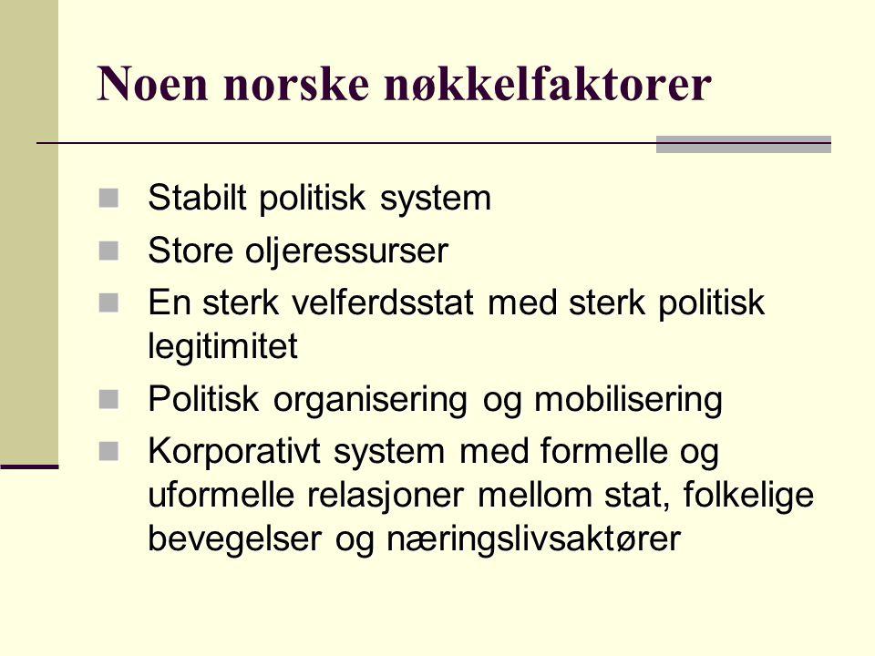 Noen norske nøkkelfaktorer Stabilt politisk system Stabilt politisk system Store oljeressurser Store oljeressurser En sterk velferdsstat med sterk pol