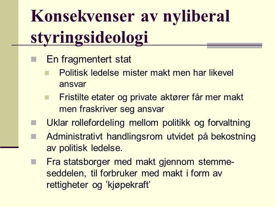 Konsekvenser av nyliberal styringsideologi Norge har institusjonelle forutsetninger som likevel skaper forutsetninger for å håndtere utfordringer skapt av globaliseringen, også gjennom offentlig sektor Norge har institusjonelle forutsetninger som likevel skaper forutsetninger for å håndtere utfordringer skapt av globaliseringen, også gjennom offentlig sektor Bl.a.