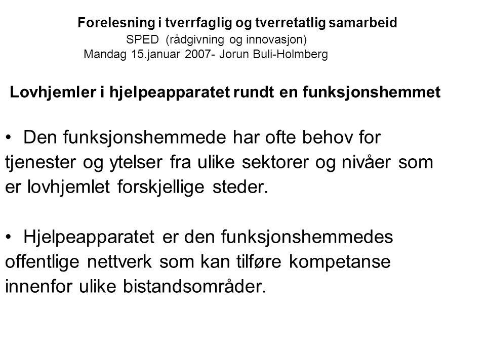 Forelesning i tverrfaglig og tverretatlig samarbeid SPED (rådgivning og innovasjon) Mandag 15.januar 2007- Jorun Buli-Holmberg Lovhjemler i hjelpeappa