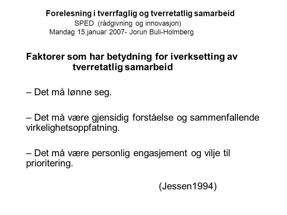 Forelesning i tverrfaglig og tverretatlig samarbeid SPED (rådgivning og innovasjon) Mandag 15.januar 2007- Jorun Buli-Holmberg Faktorer som har betydn