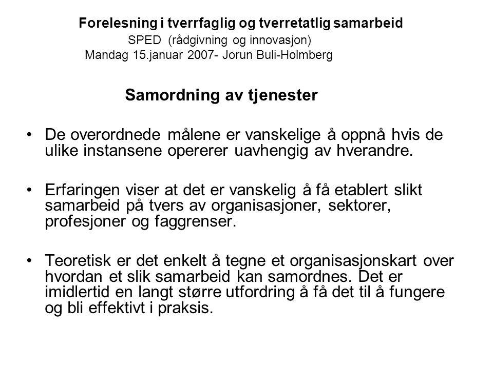 Forelesning i tverrfaglig og tverretatlig samarbeid SPED (rådgivning og innovasjon) Mandag 15.januar 2007- Jorun Buli-Holmberg Samordning av tjenester