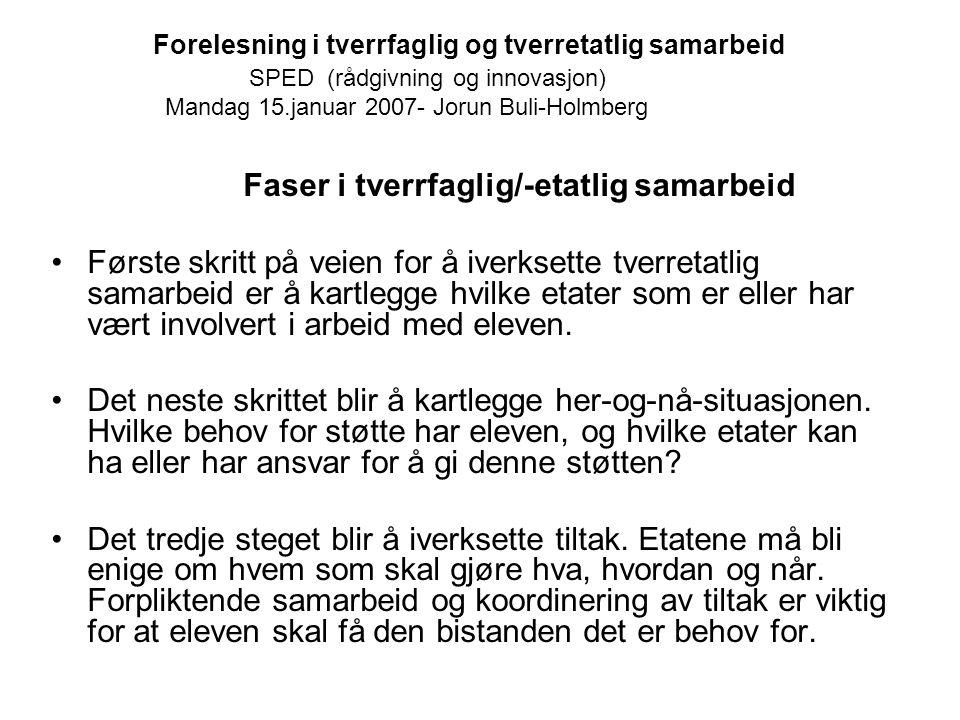 Forelesning i tverrfaglig og tverretatlig samarbeid SPED (rådgivning og innovasjon) Mandag 15.januar 2007- Jorun Buli-Holmberg Faser i tverrfaglig/-et