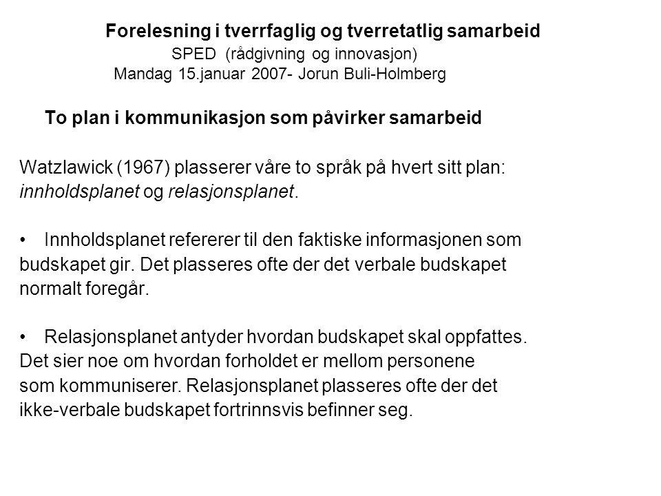 Forelesning i tverrfaglig og tverretatlig samarbeid SPED (rådgivning og innovasjon) Mandag 15.januar 2007- Jorun Buli-Holmberg To plan i kommunikasjon