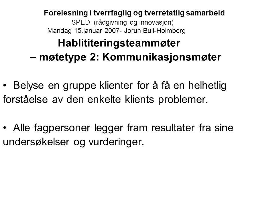 Forelesning i tverrfaglig og tverretatlig samarbeid SPED (rådgivning og innovasjon) Mandag 15.januar 2007- Jorun Buli-Holmberg Hablititeringsteammøter