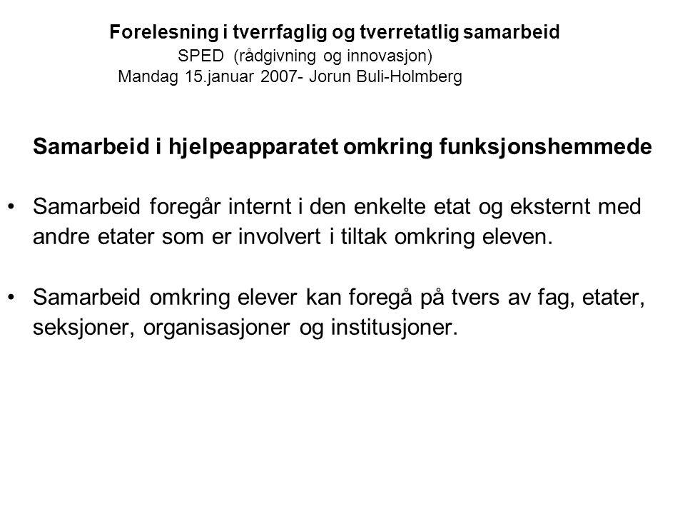 Forelesning i tverrfaglig og tverretatlig samarbeid SPED (rådgivning og innovasjon) Mandag 15.januar 2007- Jorun Buli-Holmberg Samarbeid i hjelpeappar