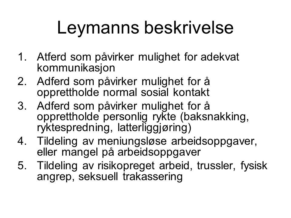 Leymanns beskrivelse 1.Atferd som påvirker mulighet for adekvat kommunikasjon 2.Adferd som påvirker mulighet for å opprettholde normal sosial kontakt
