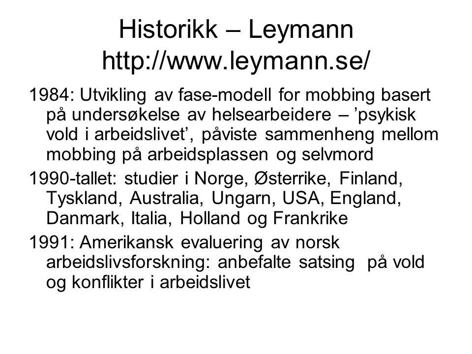 Historikk – Leymann http://www.leymann.se/ 1984: Utvikling av fase-modell for mobbing basert på undersøkelse av helsearbeidere – 'psykisk vold i arbei