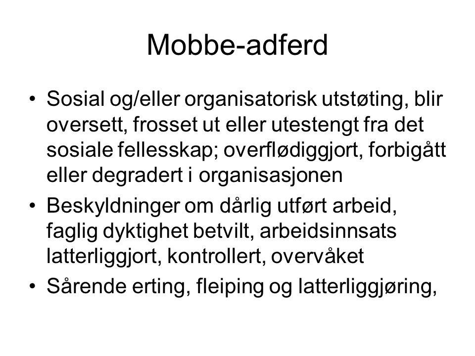 Mobbe-adferd Sosial og/eller organisatorisk utstøting, blir oversett, frosset ut eller utestengt fra det sosiale fellesskap; overflødiggjort, forbigåt
