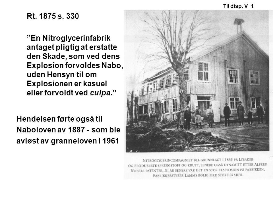 """Rt. 1875 s. 330 """"En Nitroglycerinfabrik antaget pligtig at erstatte den Skade, som ved dens Explosion forvoldes Nabo, uden Hensyn til om Explosionen e"""