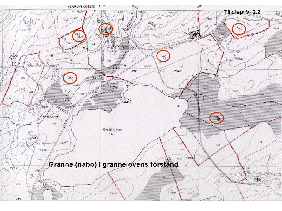 Granne (nabo) i grannelovens forstand Til disp. V 2.2